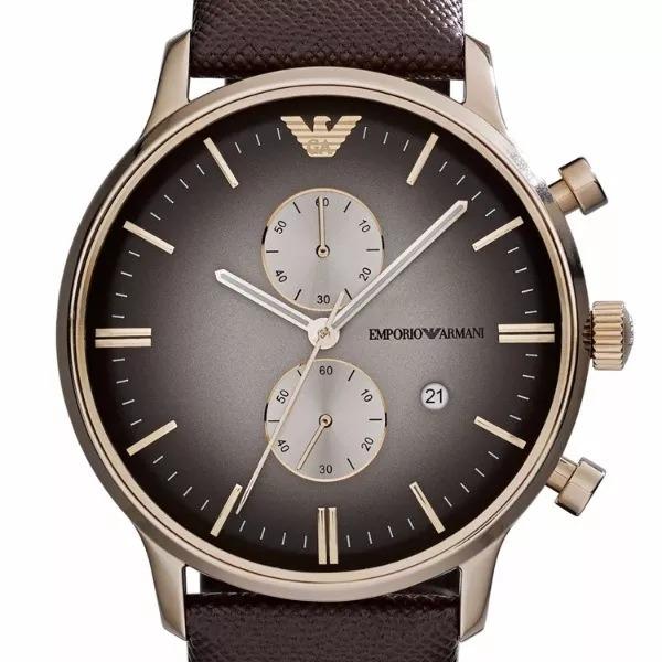 4d8cba2e701 Relógio Emporio Armani Ar1755 Pulseira Couro Marrom Caixa - R  438 ...