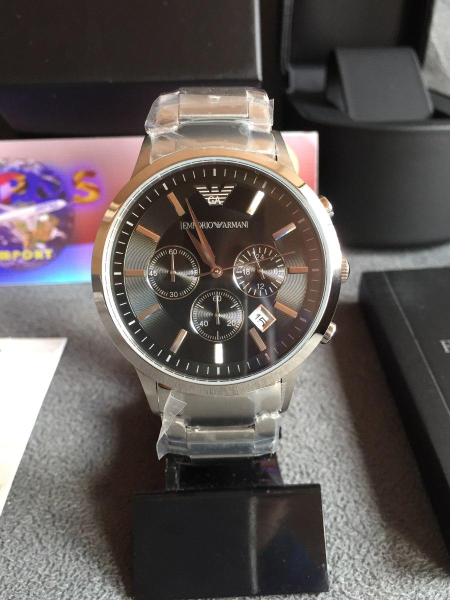 533ff3e3e0d relógio emporio armani ar2434 aço com preto completo caixa. Carregando zoom.