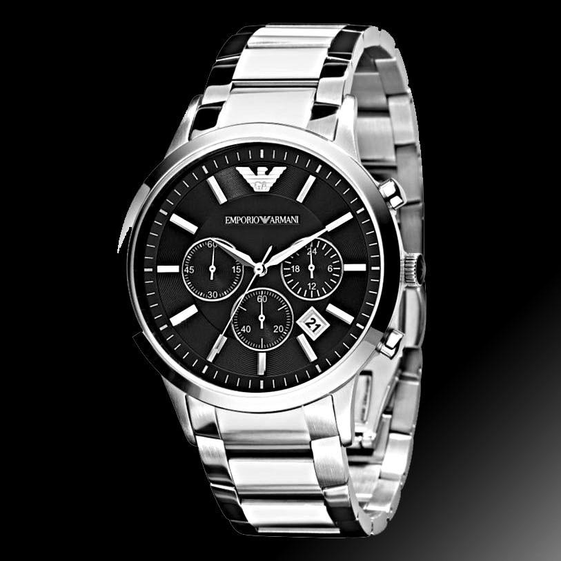 6363ea4e9f4 relógio emporio armani ar2434 preto aço escovado promoção. Carregando zoom.