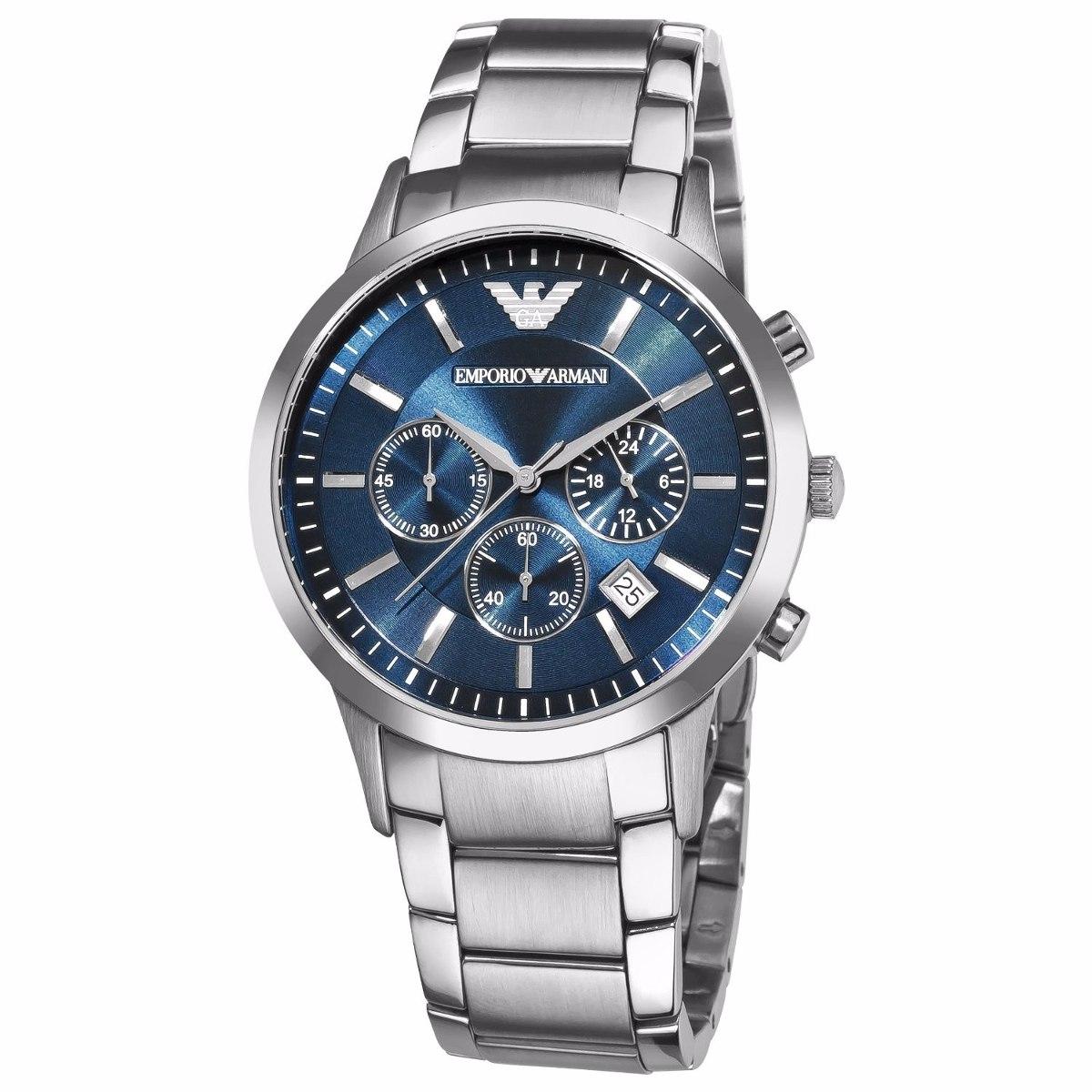 c81b55a76a9 relógio emporio armani ar2448 prata azul com caixa em oferta. Carregando  zoom.