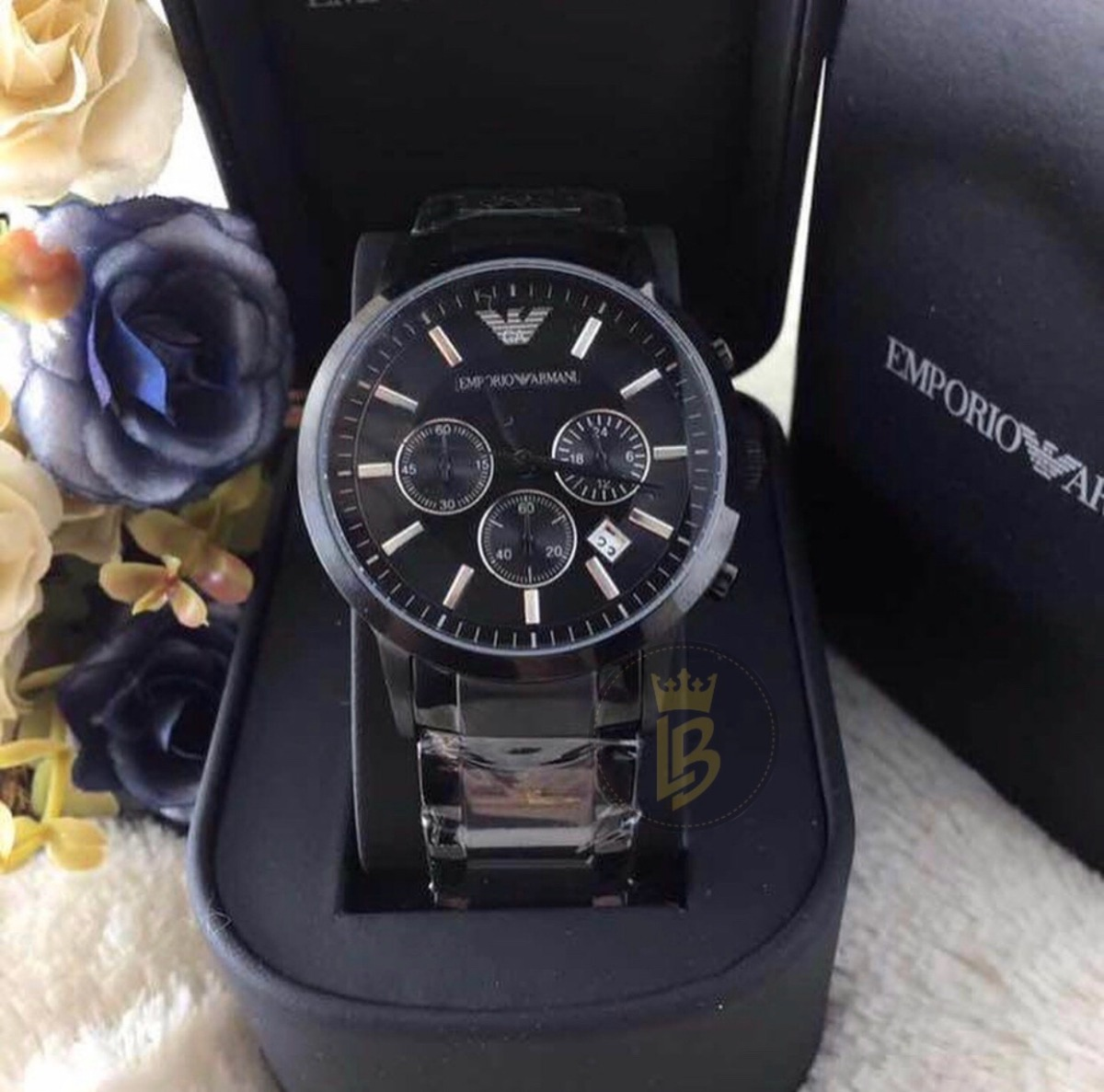 d57a242d6a6 relógio empório armani ar2453 preto médio 43mm completo. Carregando zoom.