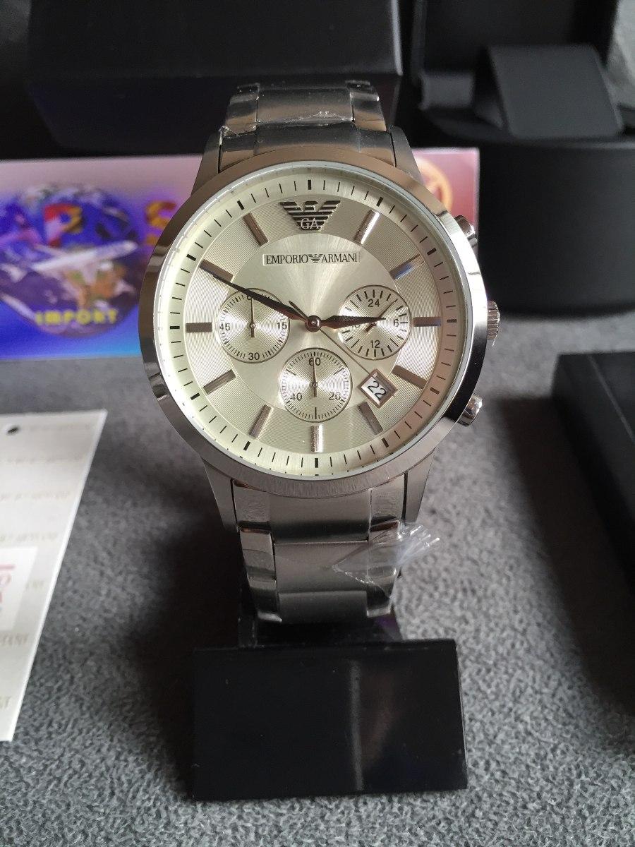 2663366d658 relógio emporio armani ar2458 prata aço original completo. Carregando zoom.