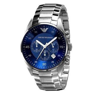 relógio empório armani - ar5860 azul e prata s cx