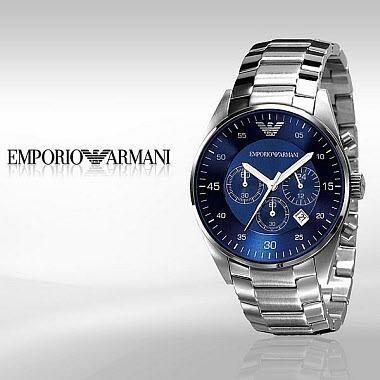 relógio emporio armani ar5860 original azul prata garantia