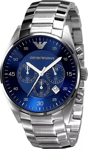 relógio empório armani ar5860 prata azul s cx
