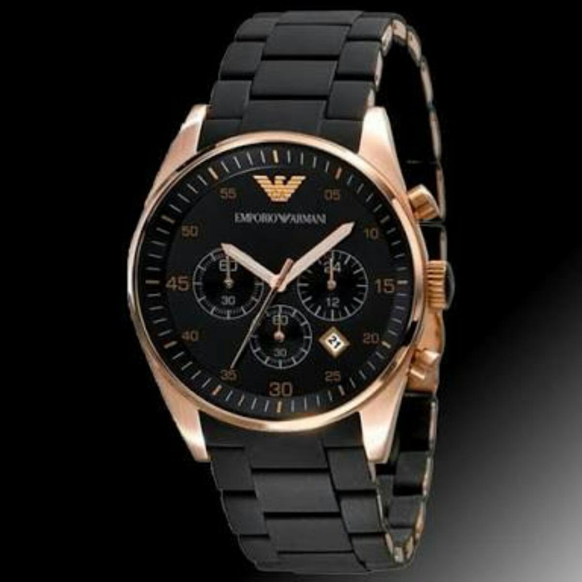 416eba09c77 relógio empório armani ar5905 rose preto original. Carregando zoom.