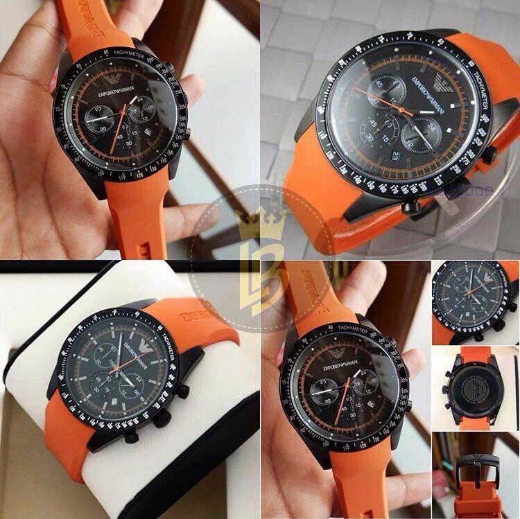 086c7abeae1c0 Relógio Emporio Armani Ar5987 Laranja Original Completo - R  809