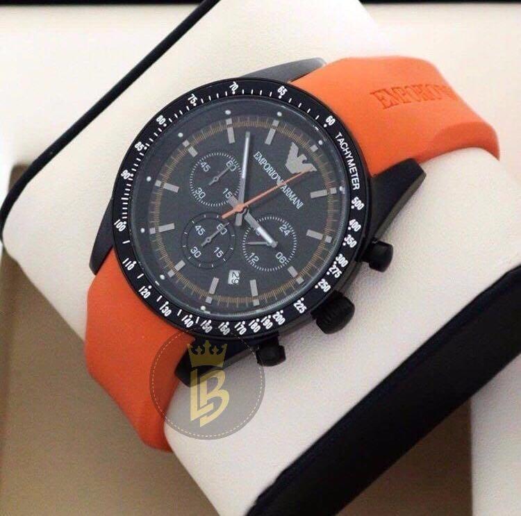 94997d1ae1ee2 Relógio Emporio Armani Ar5987 Laranja Original Garantia 12x - R  805 ...