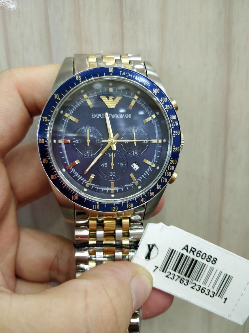 a4e5db62dc7 Relógio Emporio Armani Ar6088 Aço Inox Prata Com Azul - R  389