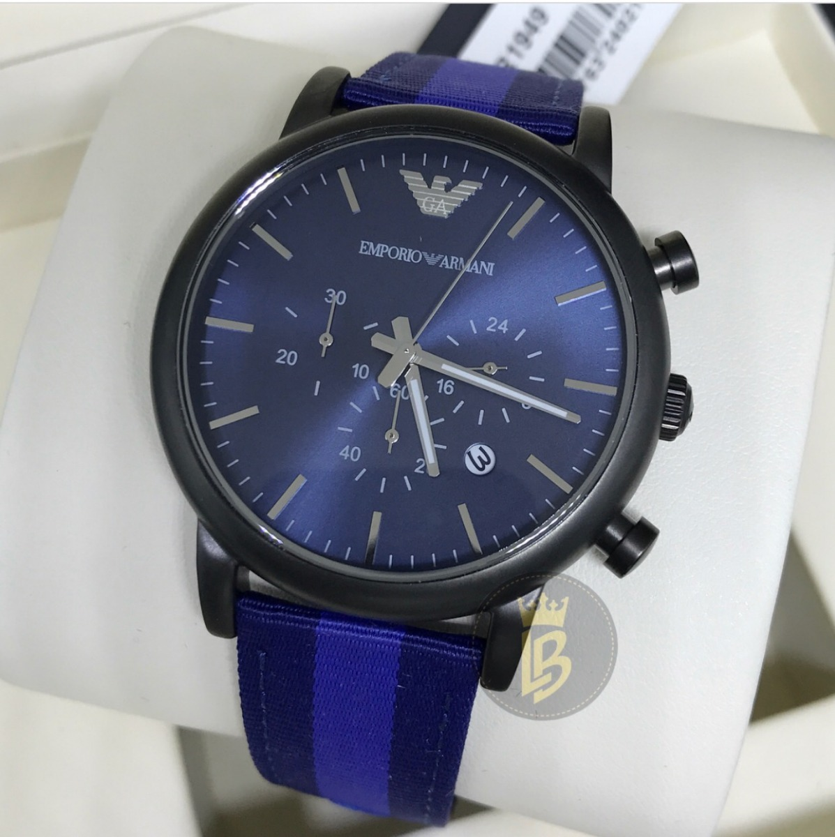Relógio Empório Armani Luigi Ar1949 Novo Azul- 100% Original - R ... 46b9431934
