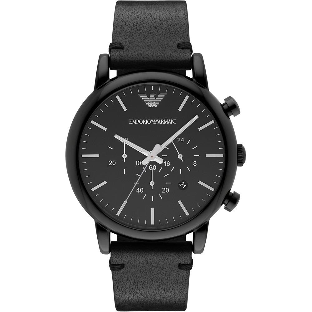 511a586dcf4 relógio empório armani preto   couro - pronta entrega. Carregando zoom.