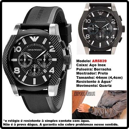 cd5ba4be8dd Relógio Empório Armani Ar5839 Puls De Borracha Original ! - R  396 ...