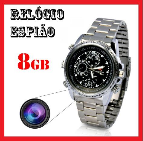 01fc8b58765 Relogio Espiao 8gb Camera Espiã Filmadora Filma E Tira Foto - R  119 ...