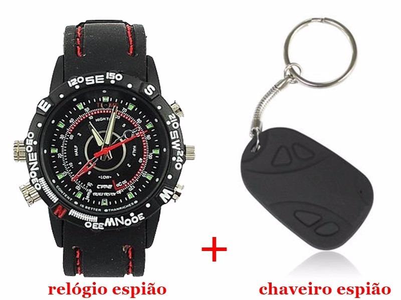 0fa33d9f068 Relógio Espião 8gb+chaveiro Espião 8gb- Kit Relógio+chaveiro - R  180