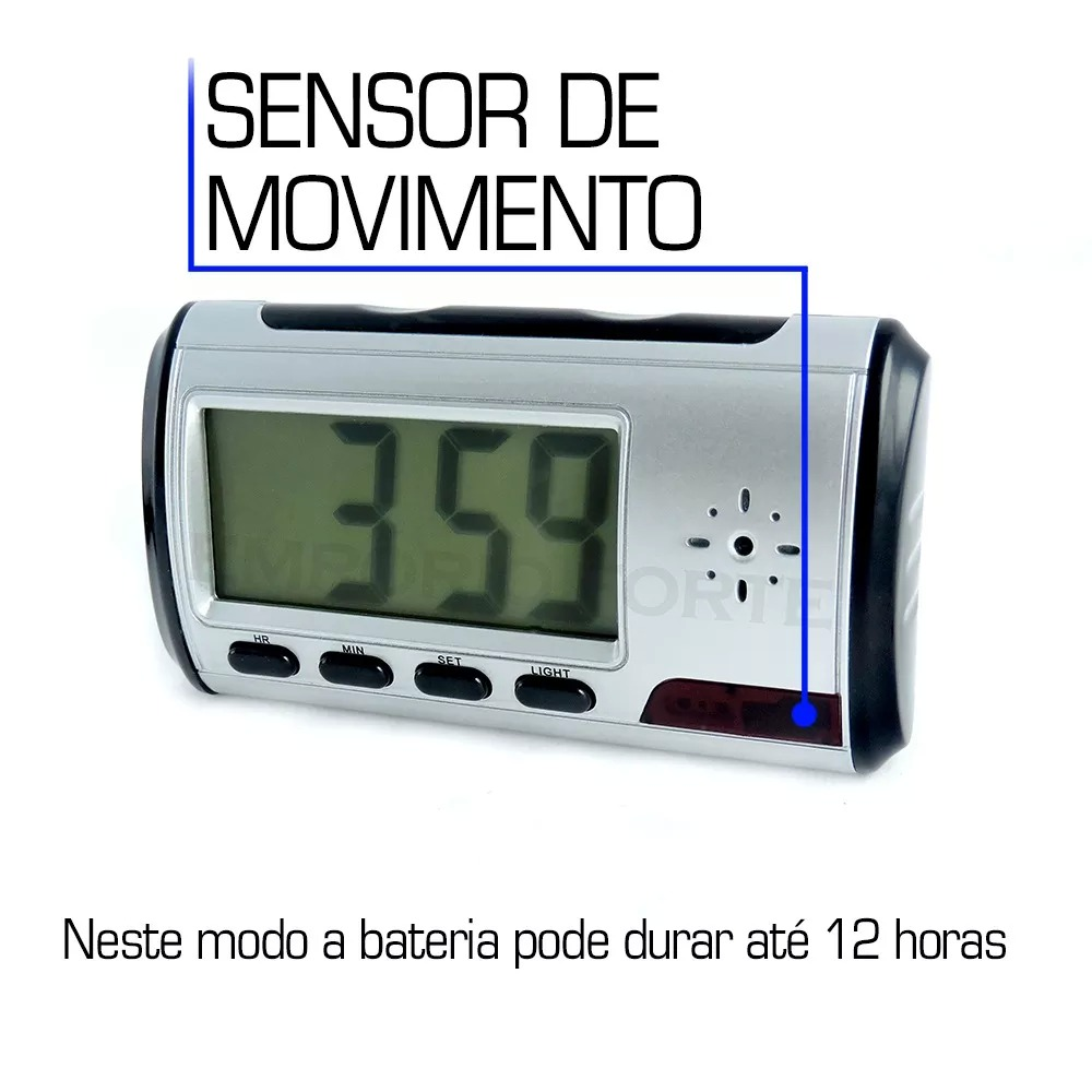 b3c3443d3c8 relogio espião de mesa com sensor de movimento filma e fotos. Carregando  zoom.
