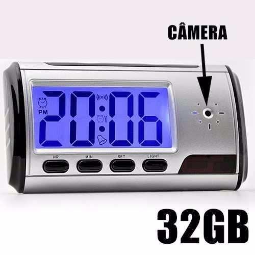 46f5d121ad3 Relogio Espião De Mesa Com Sensor De Movimento Filma E Fotos - R  121