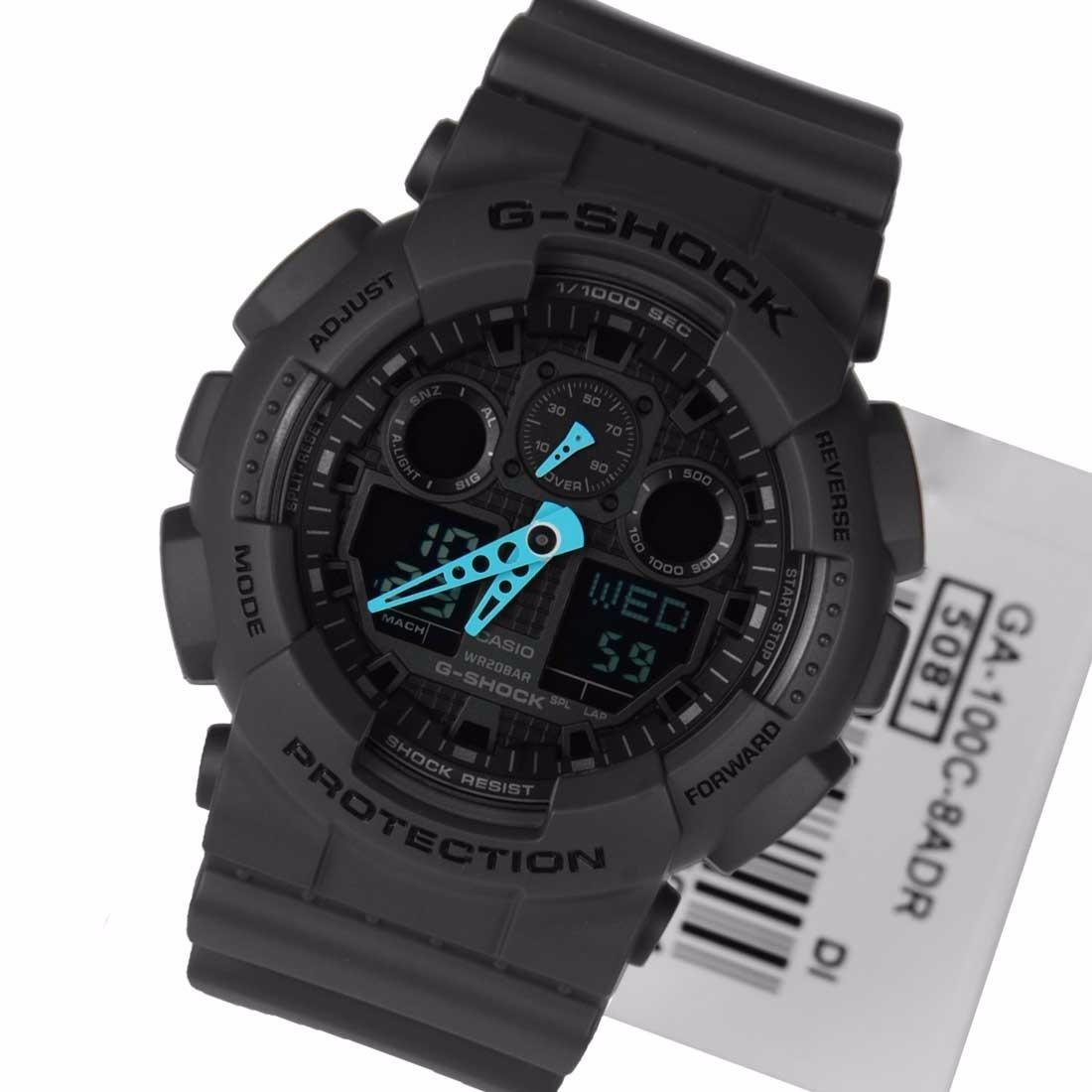 5da7c359ae6 relógio esportivo casio g-shock ga-100c8a preto detalhe azul. Carregando  zoom.