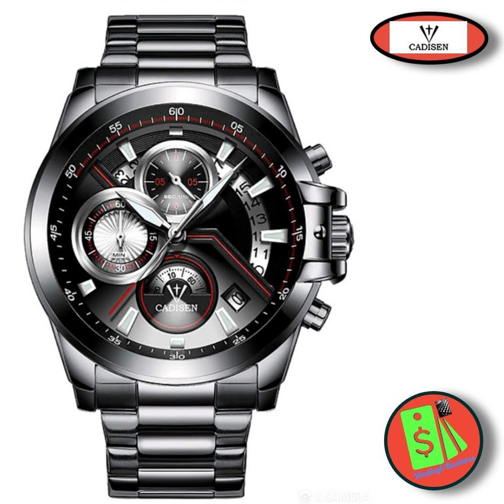 8e17110c014 relógio esportivo masculino cronômetro aço inoxidável preto. Carregando zoom .