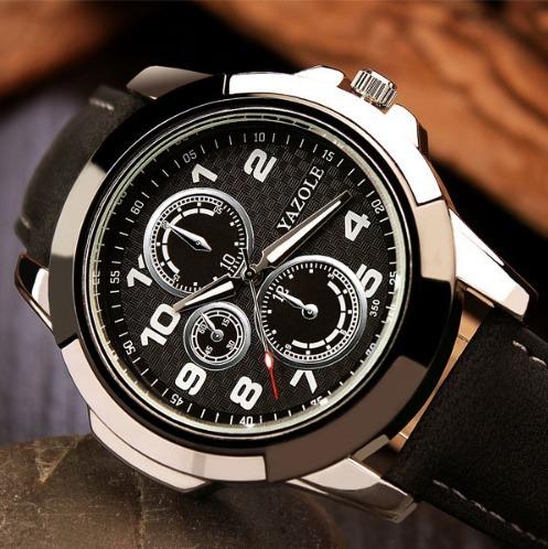 d8a000cb886 Relógio Esportivo Masculino De Pulso Quartzo Pulseira Couro - R  45 ...