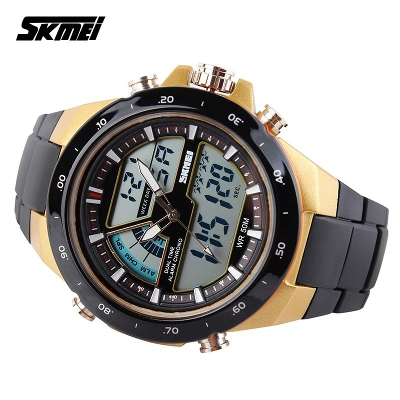 f7f1b9feaf4 relógio esportivo masculino dourado com preto skmei. Carregando zoom.