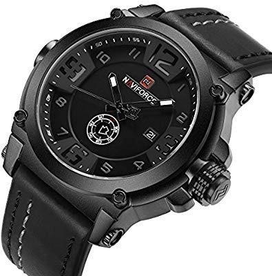 relógio esportivo masculino naviforce militar pulseira couro - promoção limitada últimas unidades entrega imediata melho
