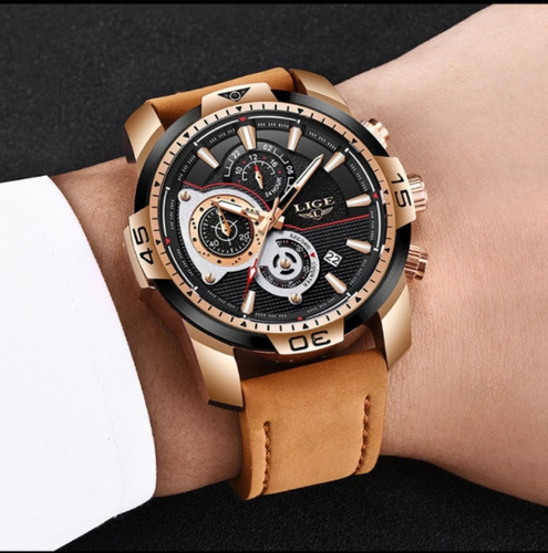 relogio esportivo masculino pulseira de couro original quartzo resistente a agua pulso luxo moda homens top lige 9892