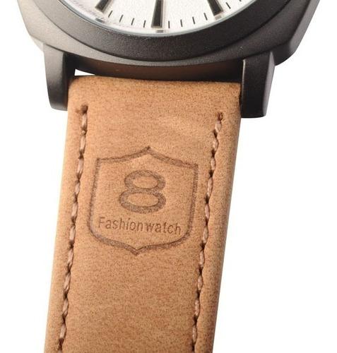 relógio esportivo militar curren 8139 original couro marron