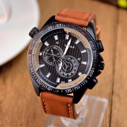 relógio esportivo pulseira bracelete de couro 334