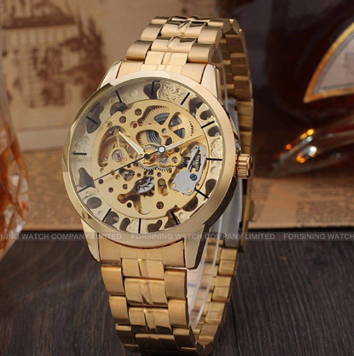 e12de404126 relógio esqueleto homens mecânico automático ouro de aço. Carregando zoom.