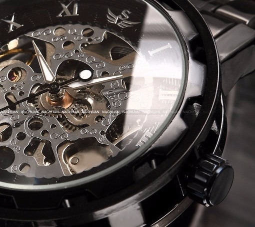 7e057423b6d Relógio Esqueleto Winner Automático Preto Transparente Aço - R  78 ...