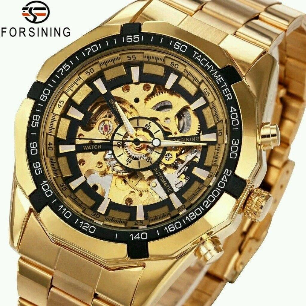 2246566e5c5 relógio esqueleto winner ouro masculino aço inoxil original. Carregando zoom .