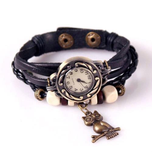 relógio estilo antigo feminino de luxo pulseira couro quartz