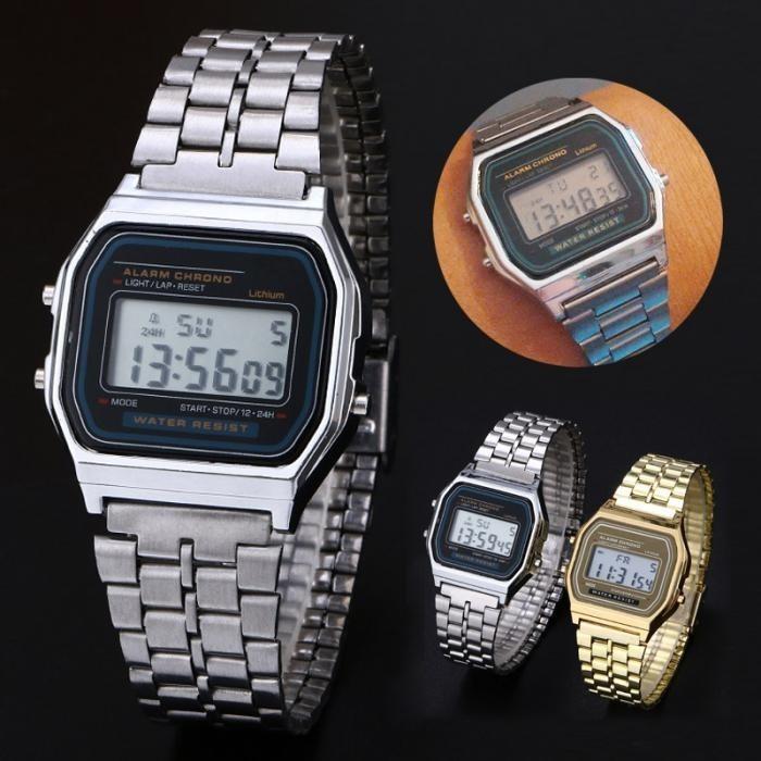 9d702a09a62 Relógio Estilo Casio Vintage Prata Digital Resistente A Água - R  44 ...
