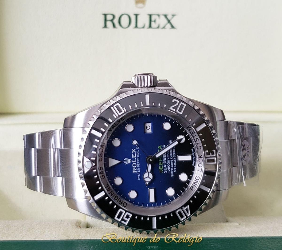 b3d08389d31 relógio eta - mod rolex deepsea d-blue sh3135 arf aço 904l. Carregando zoom.