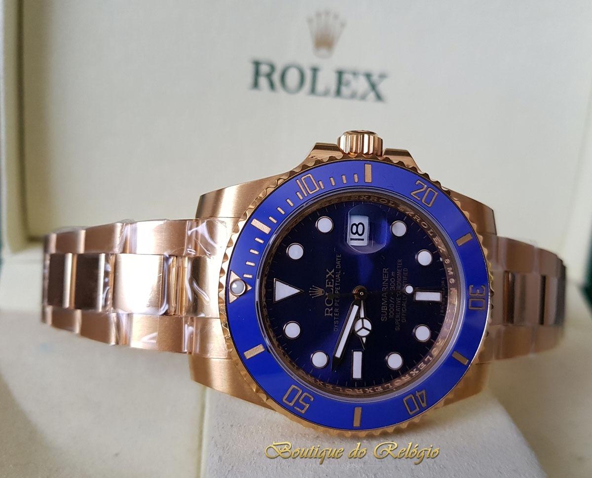 fc68b61500d relógio eta - mod. rolex submariner blue gold 18k vr facotry. Carregando  zoom.