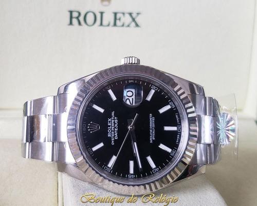 relógio eta - modelo datejust dial preto - aço 904l arf best