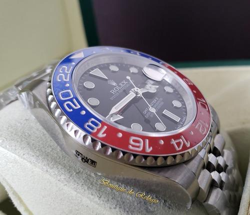 relógio eta - modelo gmt-master ii pepsi gm sa3285 aço 904l,