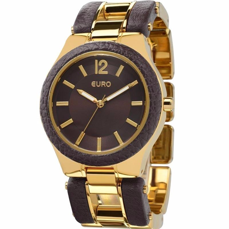 140c6804ea934 relógio euro dourado com marrom elos feminino eu2035lvh 4c. Carregando zoom.