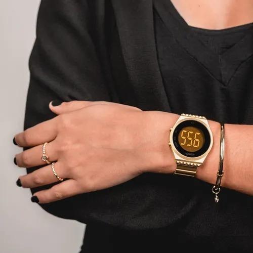 relógio euro fashion fit slim feminino dourado