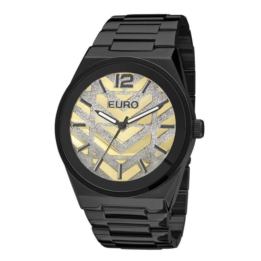 af61d86cff9 Relógio Euro Analógico Feminino Aço New Glitz Preto - Eu2 - R  317 ...