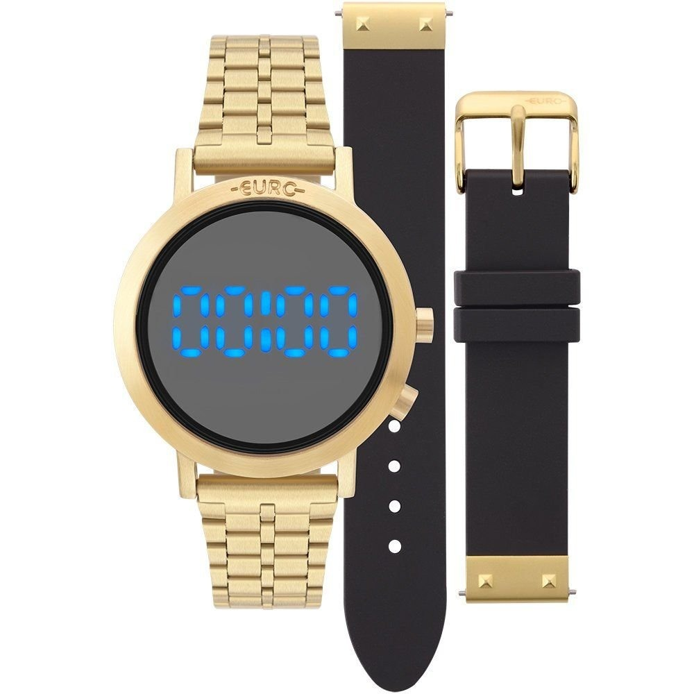 1a312c4f3ea Relógio Euro Feminino Eubj3407aa t4p Digital Led Dourado - R  299