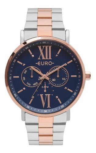 relogio euro feminino eu6p29ahb/5a rose azul analogico
