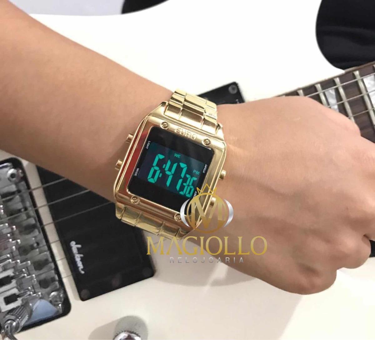 9aaadbbfa12 Relógio Euro Feminino Eug2510aa 4p Dourado Digital Quadrado - R  256 ...