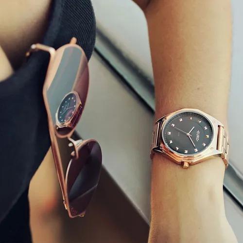 relógio euro feminino spike geométrico rosé