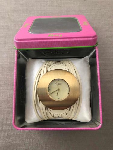 relógio euro original de couro legítimo