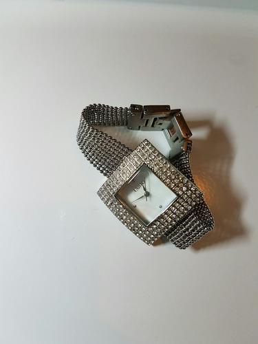 relógio euro prateado com pedras