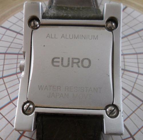 relogio euro quartz caixa aluminio + pulseira reserva nova