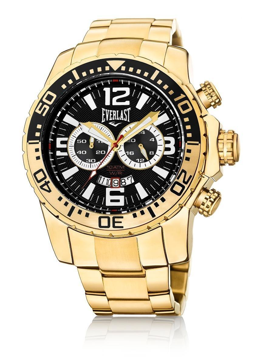 8e349b8b4b0 relógio everlast cronógrafo caixa aço e pulseira aço dourado. Carregando  zoom.