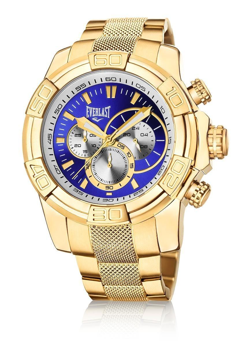 93f3d8fa831 relógio everlast cronógrafo caixa e pulseira aço dourado e64. Carregando  zoom.