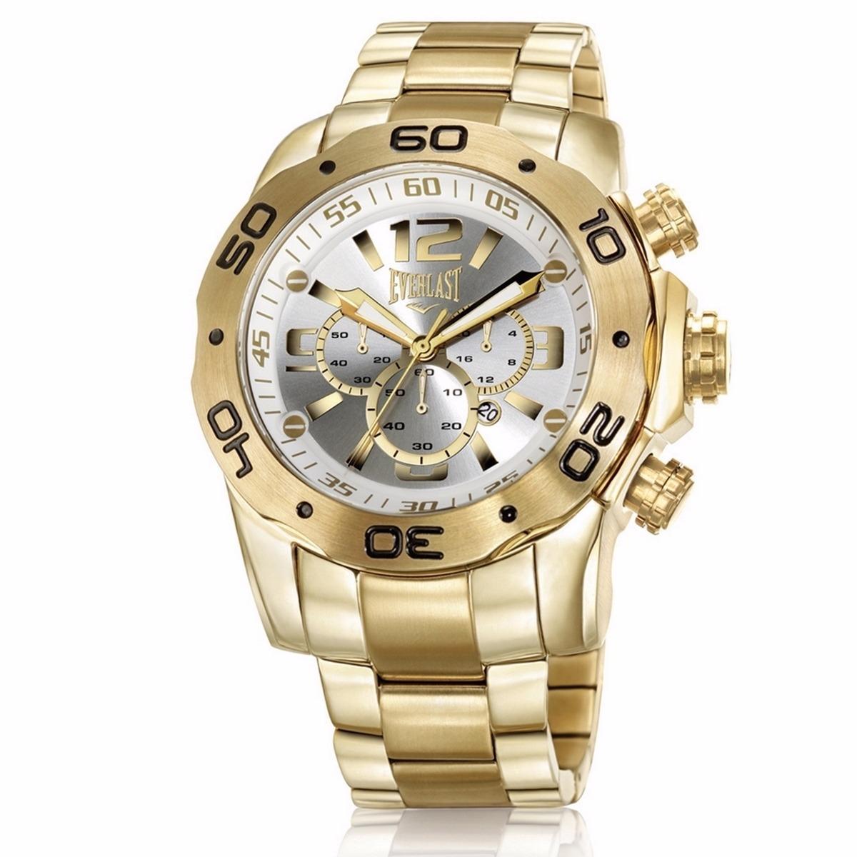 f46395f6b52 Relógio Everlast Gold Masculino Dourado Cronógrafo - E543 - R  1.399 ...